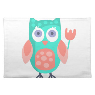 Owl With Party Attributes Girly Stylized Funky Placemat