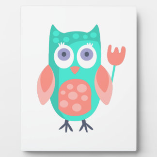 Owl With Party Attributes Girly Stylized Funky Plaque