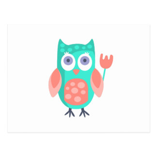 Owl With Party Attributes Girly Stylized Funky Postcard