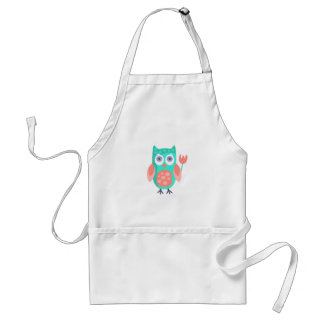 Owl With Party Attributes Girly Stylized Funky Standard Apron