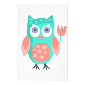 Owl With Party Attributes Girly Stylized Funky Stationery