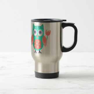 Owl With Party Attributes Girly Stylized Funky Travel Mug
