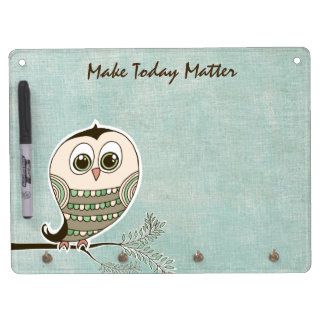 Owl with Quote Affirmation Dry Erase Board With Keychain Holder