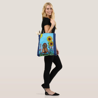 Owl with Sunflowers Tote Bag