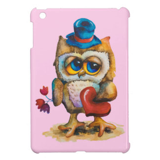 Owl with the heart iPad Mini Case Pink