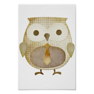 Owl With Tie Poster