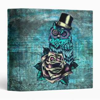 Owl with top hat with rose in teal binder. 3 ring binders