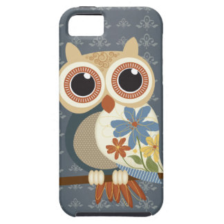 Owl with Vintage Flowers iPhone 5 Case For The iPhone 5