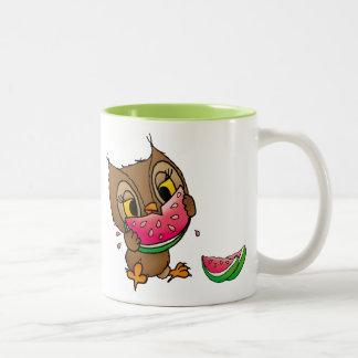 Owl with Wassermelone Two-Tone Coffee Mug