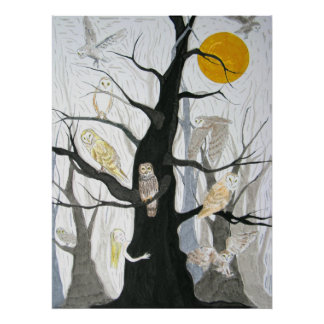 Owl Wood Poster