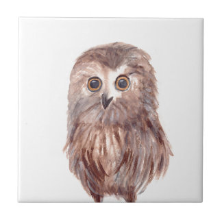 Owl woodland bird ceramic tiles