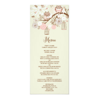 "Owl You Need Is Love Pink Owls Menu Card 4"" X 9.25"" Invitation Card"
