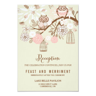 """Owl You Need Is Love Pink Owls Reception Card 3.5"""" X 5"""" Invitation Card"""