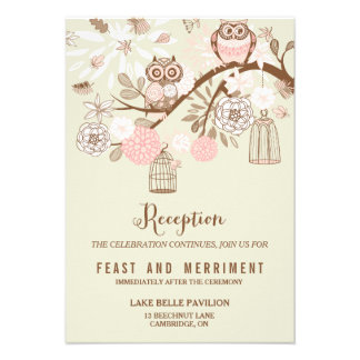 Owl You Need Is Love Pink Owls Reception Card