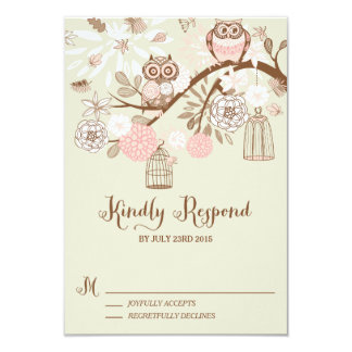 """Owl You Need Is Love Pink Owls RSVP Card 3.5"""" X 5"""" Invitation Card"""