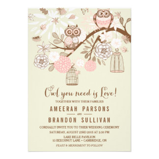 Owl You Need Is Love Pink Owls Wedding Invitation