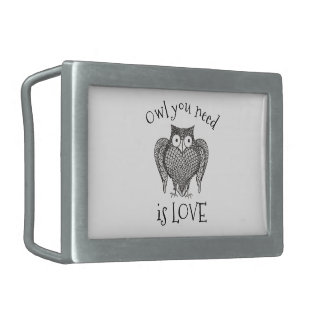 Owl you Need Rectangular Belt Buckle