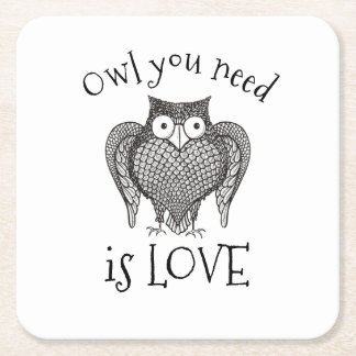 Owl you Need Square Paper Coaster
