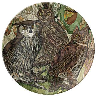 """Owls  10.75"""" Decorative Porcelain Plate"""