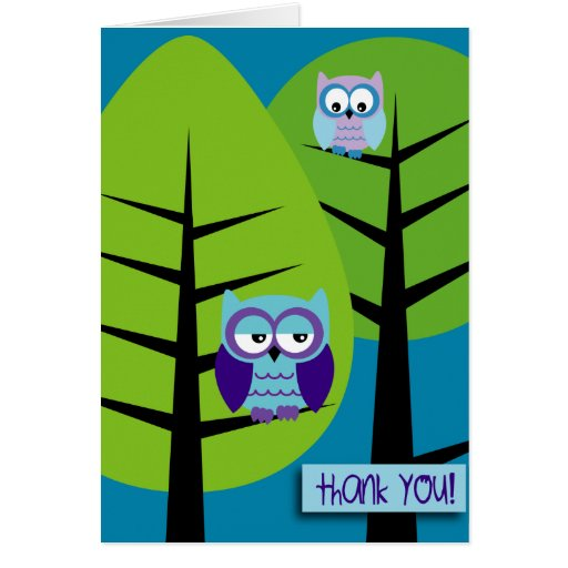 owls 2 thank you Card