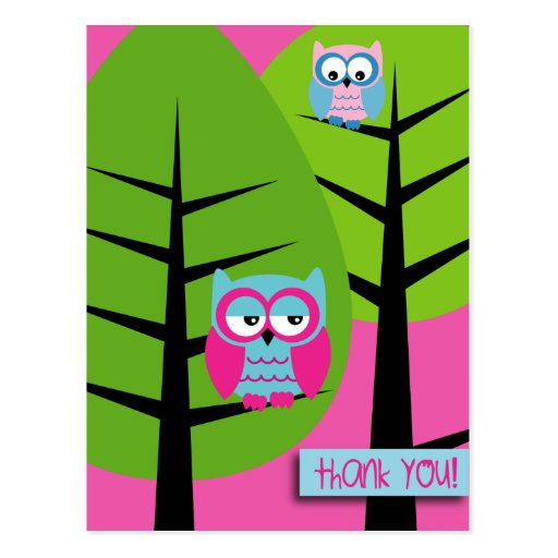 owls 3 thank you Postcard