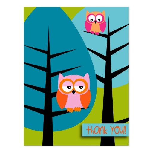 owls 4 thank you Postcard