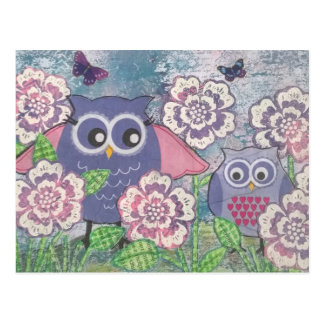 Owls amongst flowers postcard