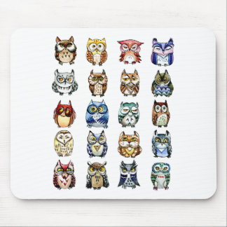 Owls and Cat Mouse Pad