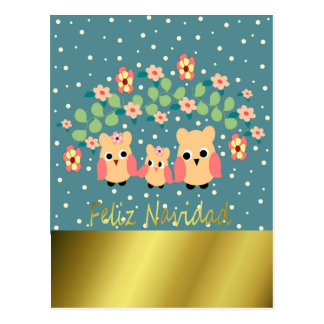 owls and flowers postcard
