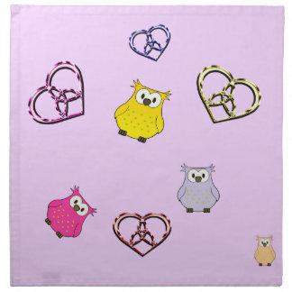 Owls and Hearts Napkin