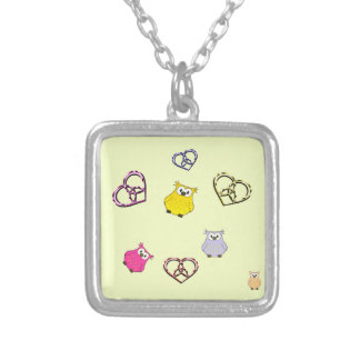 Owls and Hearts Silver Plated Necklace