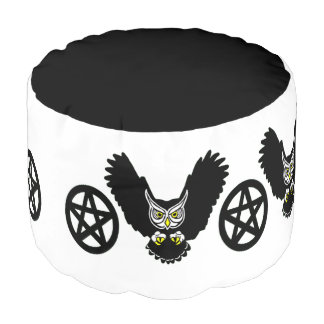 Owls And Pentacles Foot Rest Pouf