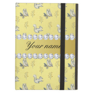 Owls and Squirrels Faux Gold Foil Bling Diamonds Cover For iPad Air