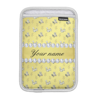 Owls and Squirrels Faux Gold Foil Bling Diamonds iPad Mini Sleeve