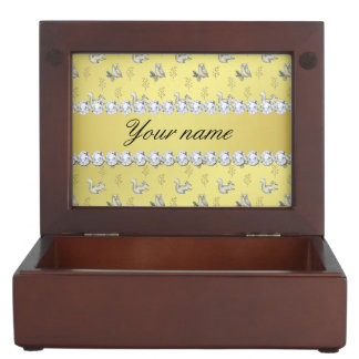 Owls and Squirrels Faux Gold Foil Bling Diamonds Keepsake Box
