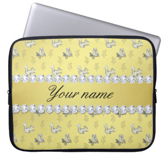 Owls and Squirrels Faux Gold Foil Bling Diamonds Laptop Sleeve