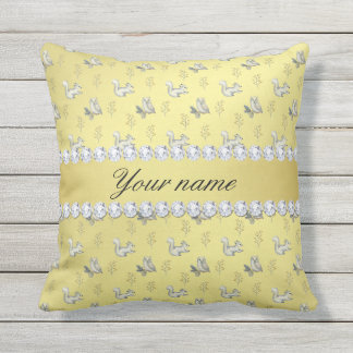 Owls and Squirrels Faux Gold Foil Bling Diamonds Outdoor Pillow