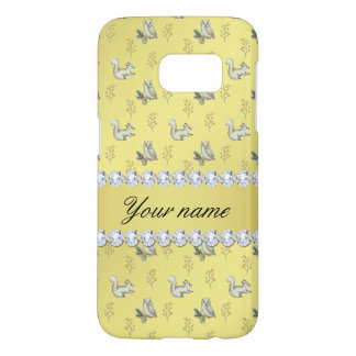 Owls and Squirrels Faux Gold Foil Bling Diamonds Samsung Galaxy S7 Case
