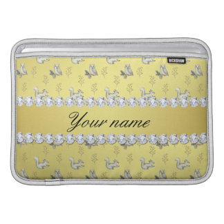 Owls and Squirrels Faux Gold Foil Bling Diamonds Sleeves For MacBook Air