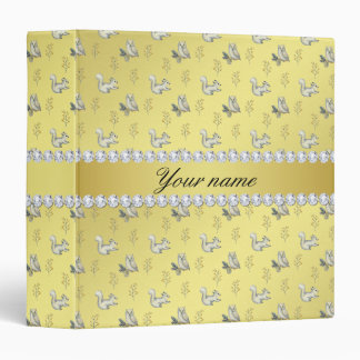 Owls and Squirrels Faux Gold Foil Bling Diamonds Vinyl Binder