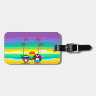 owls are back to vacations! luggage tag