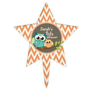 Owls Baby Shower Orange and White Chevron Cake Toppers