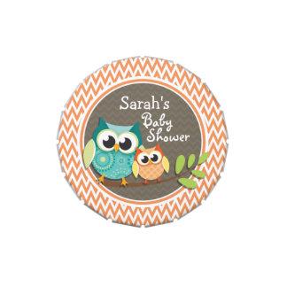 Owls Baby Shower Orange and White Chevron Candy Tins
