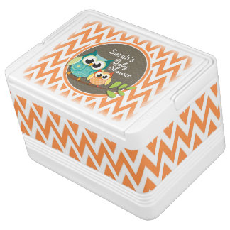 Owls Baby Shower Orange and White Chevron Igloo Can Cooler