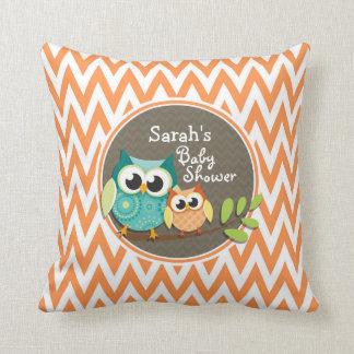 Owls Baby Shower Orange and White Chevron Pillow
