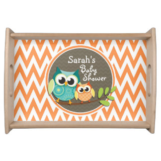 Owls Baby Shower Orange and White Chevron Serving Platter