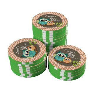 Owls Baby Shower Orange and White Chevron Poker Chip Set