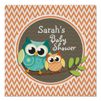Owls Baby Shower Orange and White Chevron Posters
