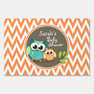 Owls Baby Shower Orange and White Chevron Lawn Signs