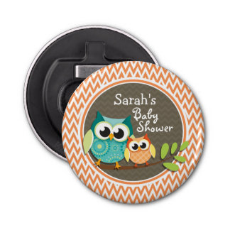 Owls Baby Shower Orange and White Chevron Button Bottle Opener